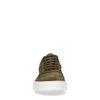 Donkergroene suède sneakers met details