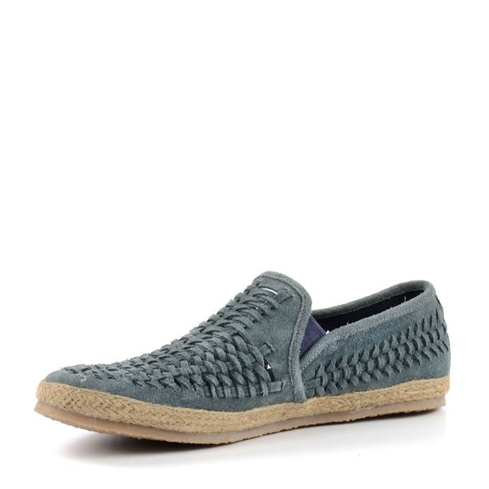 Gevlochten loafers blauw