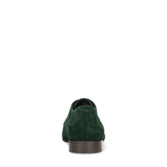 Groene suède veterschoenen met motiefje