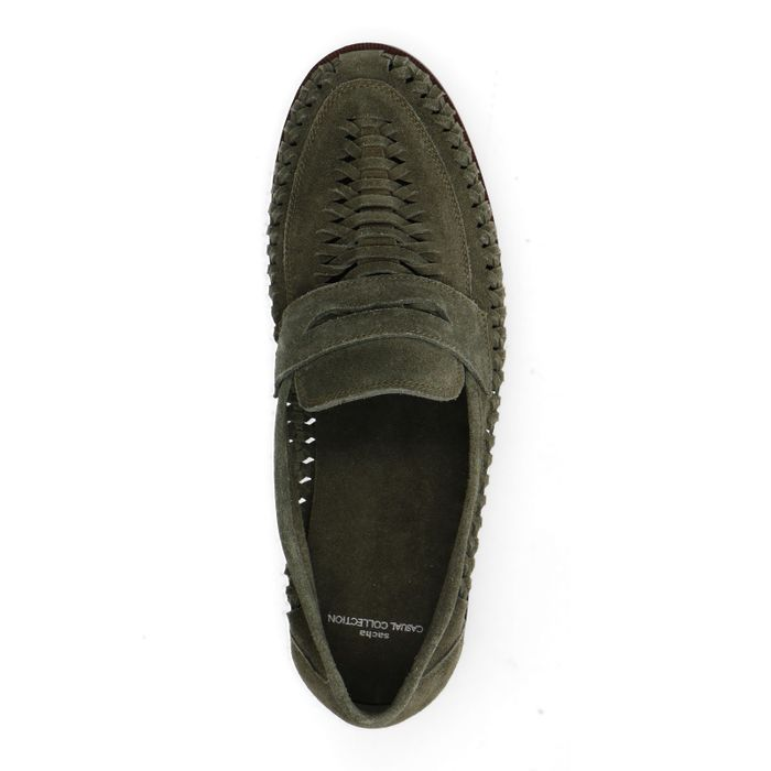 Groene gevlochten suède loafers