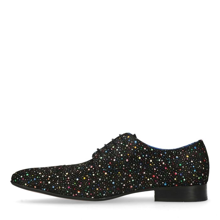 Zwarte veterschoenen met gekleurde stipjes