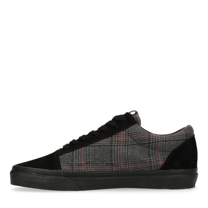 Zwarte lage sneakers met ruiten print