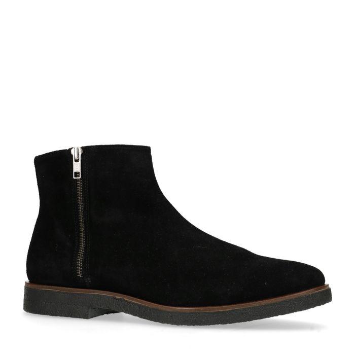 Zwarte lage boots met ritsdetail