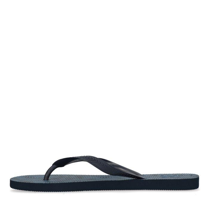 Donkerblauwe slippers met print