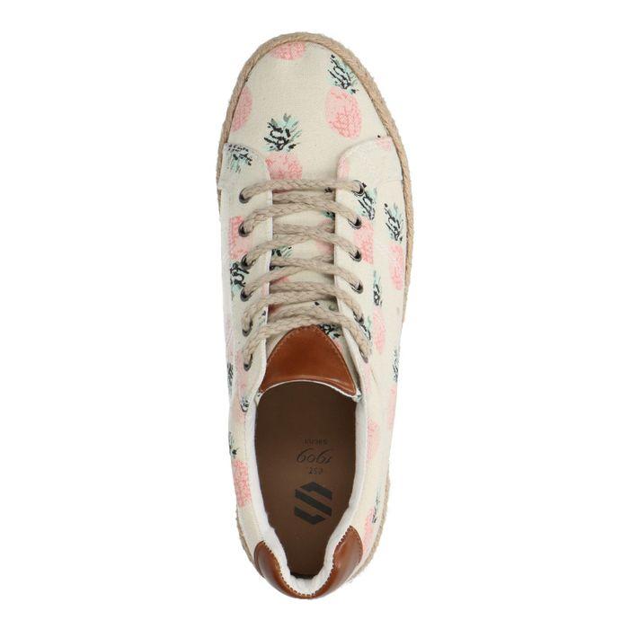 Beige schoenen met print en rieten zool