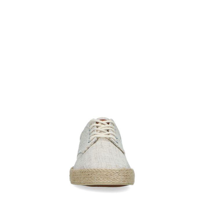 Beige canvas sneakers met print