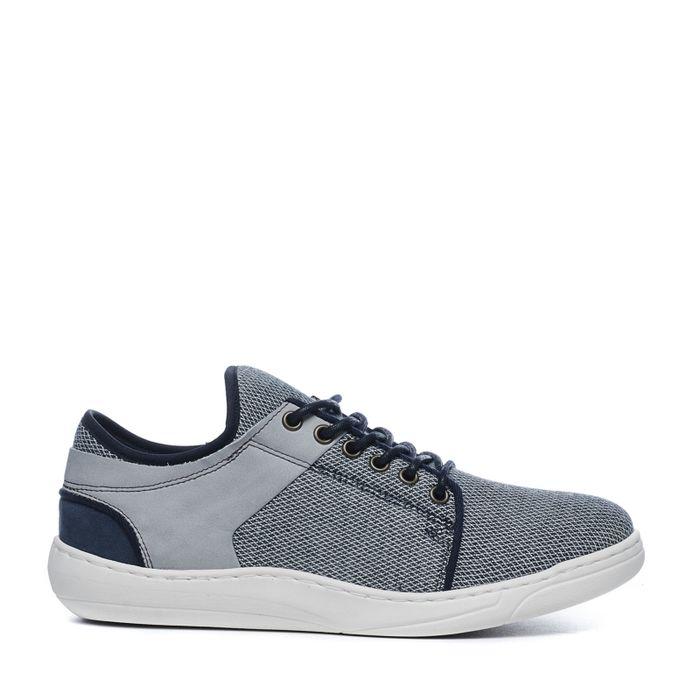 Grijs met blauwe lage sneakers
