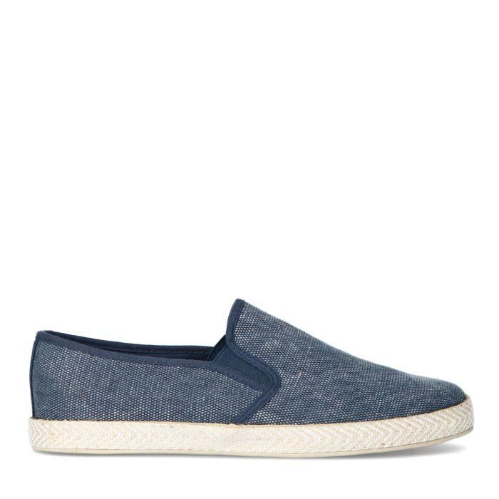 Blauwe canvas loafers met gewoven touwzool