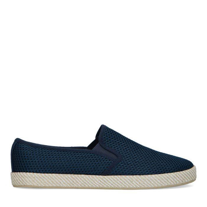 Donkerblauwe canvas loafers met gewoven touwzool