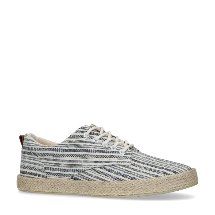 Blauwe sneakers met gewoven touwzool en print