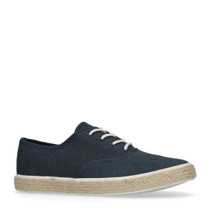 Blauwe lage sneakers met touwzool