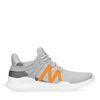 Grijze lage sneakers met oranje detail