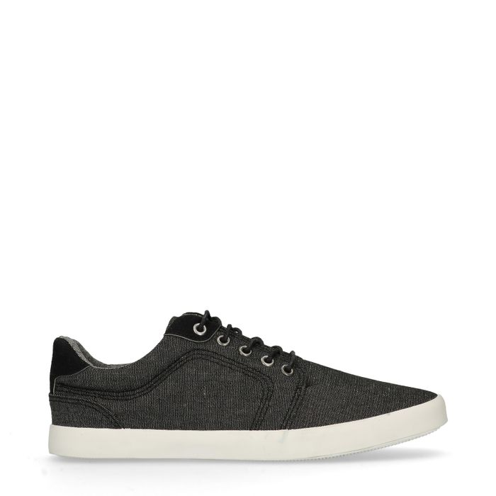Zwarte lage sneakers denimlook