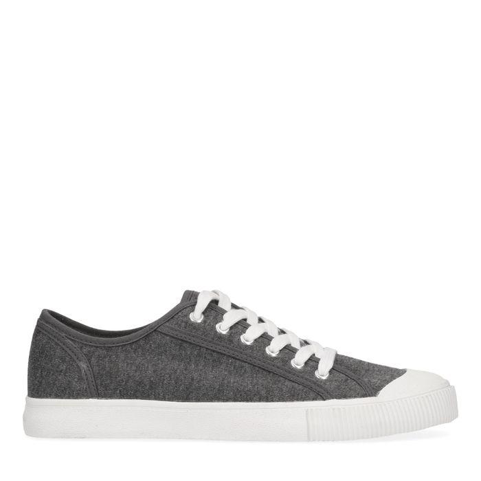 Grijze lage sneakers met witte zool