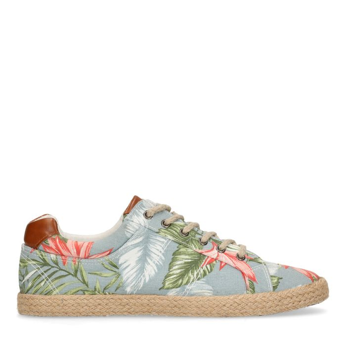 Blauwe sneakers met bloemenprint