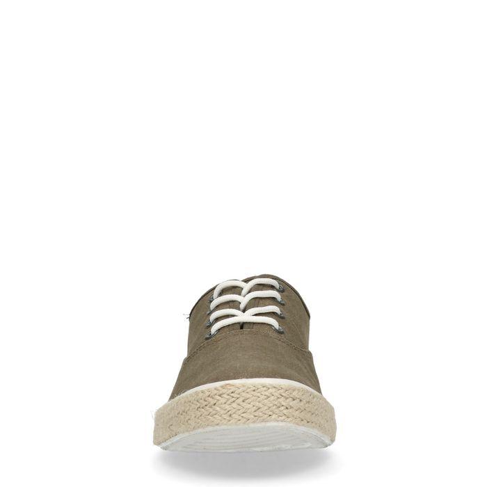 Groene lage sneakers met touwzool