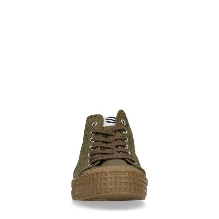 Donkergroene hoge sneakers