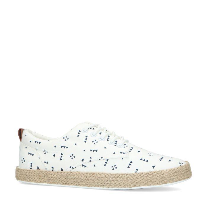 Witte canvas sneakers met all over print