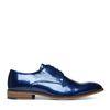 Blaue Lack-Schnürschuhe