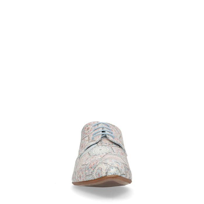 Beigefarbene Schnürschuhe mit Muster