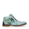 Blaue Schnürschuhe mit Blumenmuster