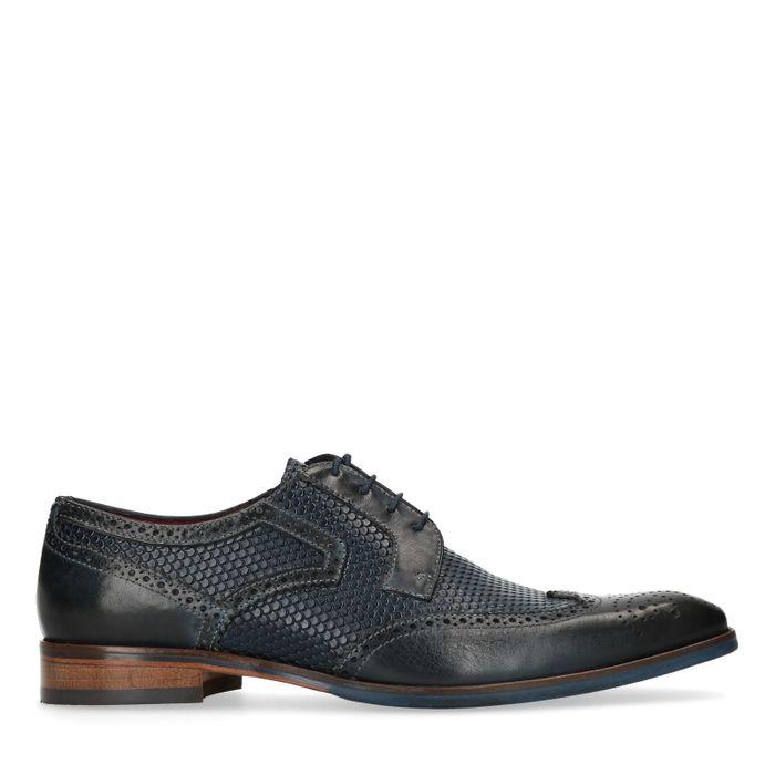 Blaue Budapester-Schuhe aus Leder