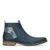 Blaue Leder-Boots mit Blumenmuster