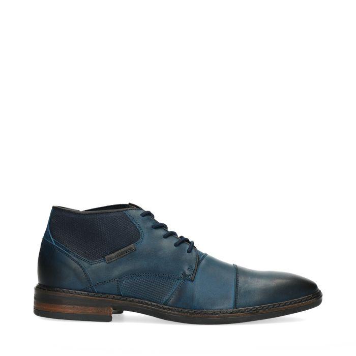Blaue Schnürschuhe mit Elastik-Einsatz