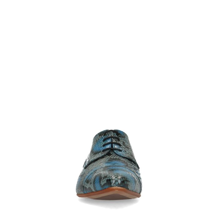 Blaue Lederschnürschuhe mit Schlangenmuster
