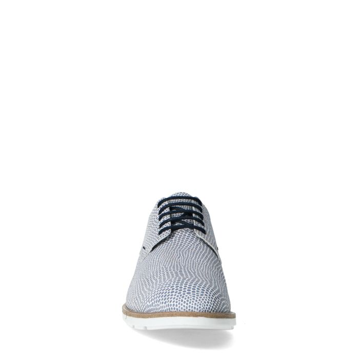 Blaue Leder-Schnürschuhe mit Print