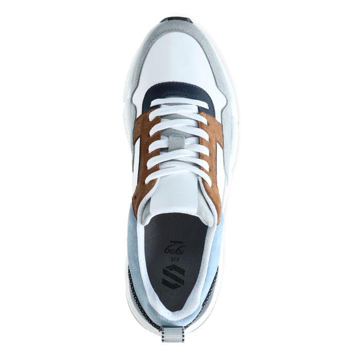 Mehrfarbige Ledersneaker mit blauem Detail