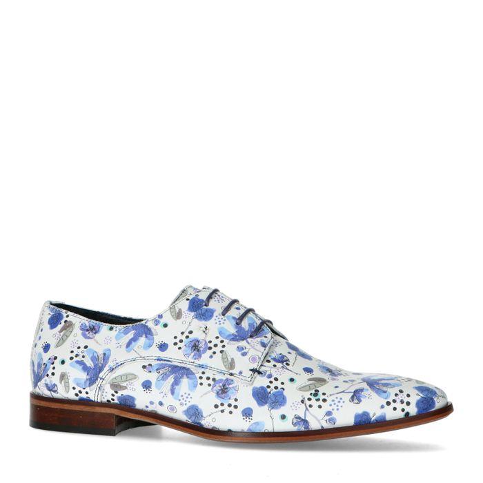 Weiße Leder-Schnürschuhe mit Print