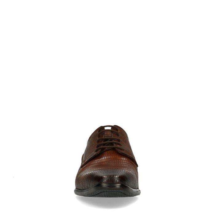 Cognacfarbene Schnürschuhe mit Prägung