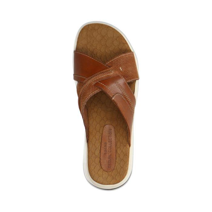 Cognacfarbene Sandalen mit gekreuzten Riemchen