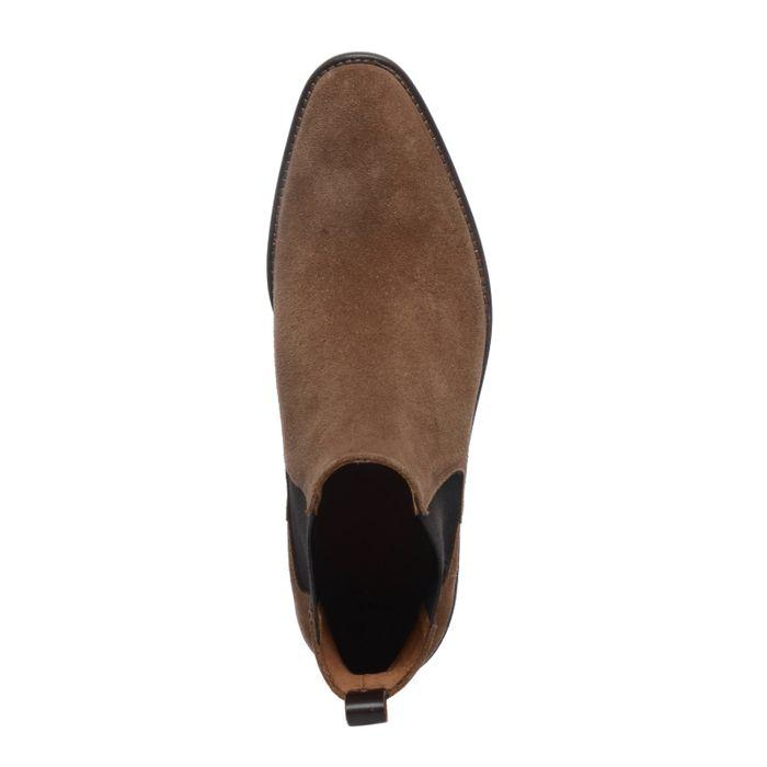 Camelbraune Chelsea Boots aus Veloursleder