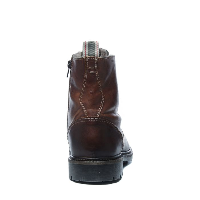 Cognacfarbene Schnürstiefel mit Reißverschluss