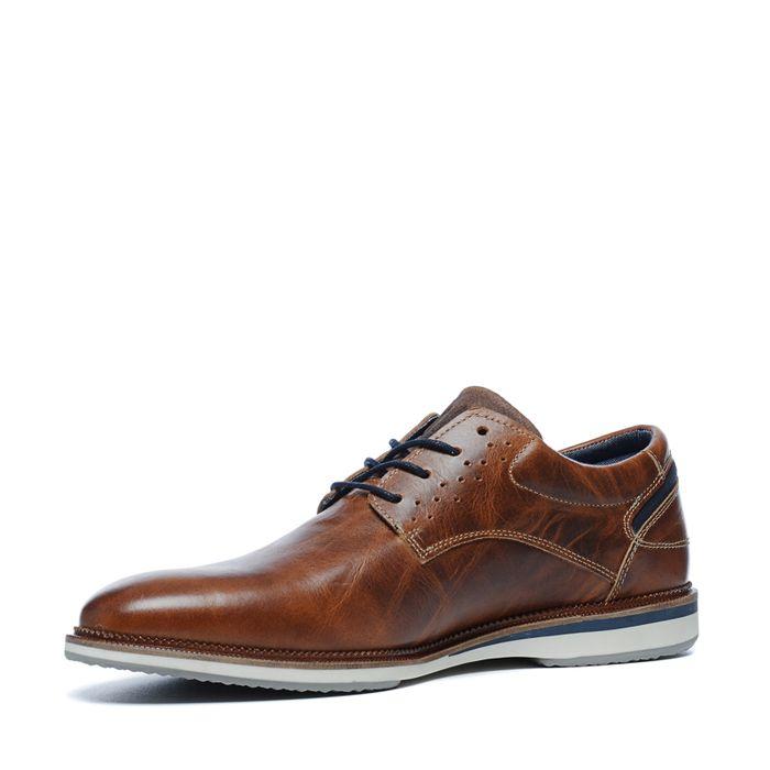 Cognacfarbene Schnürschuhe aus Leder
