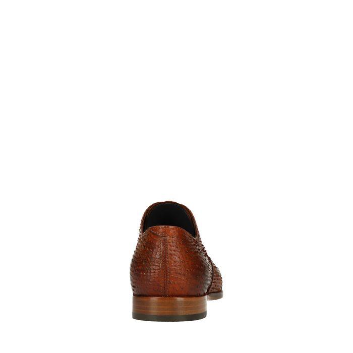 Cognacfarbene Schnürschuhe mit Schlangenmuster