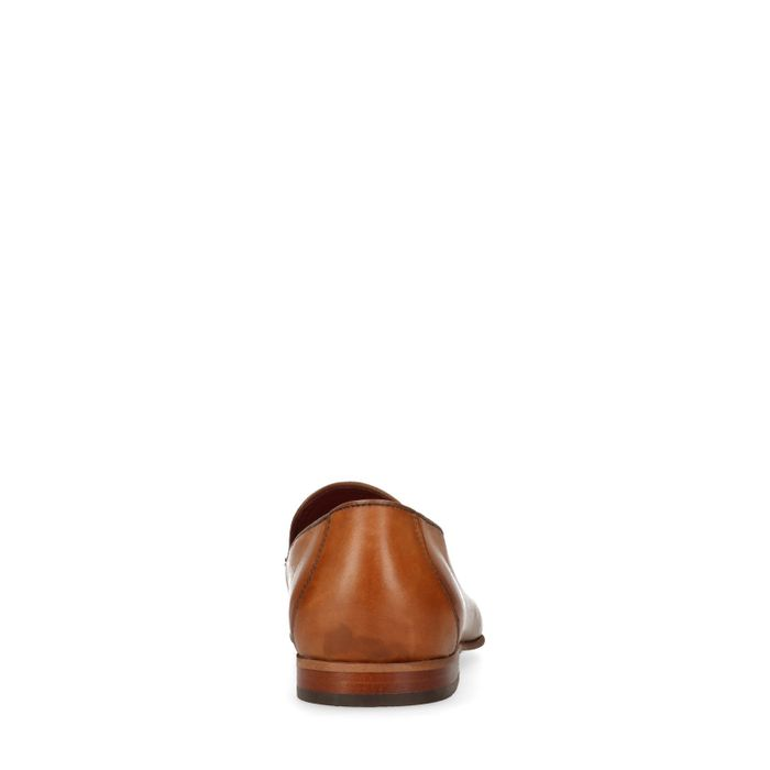 Cognacfarbene Leder-Loafer