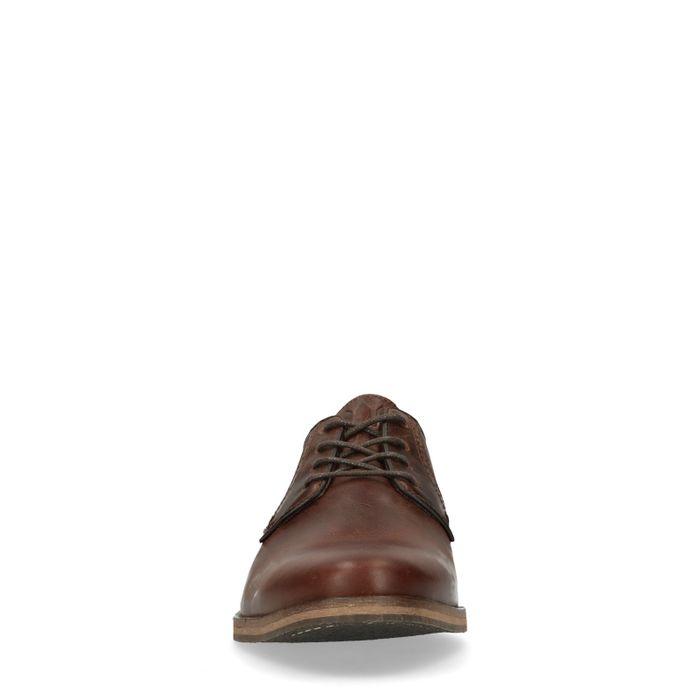 Cognacfarbene Schnürschuhe mit Lochmuster