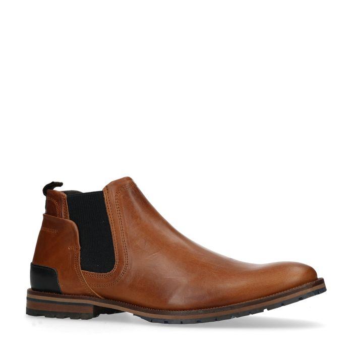 Cognacfarbene Chelsea Boots aus Leder