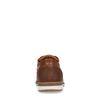 Cognacfarbene Schnürschuhe mit weißer Sohle