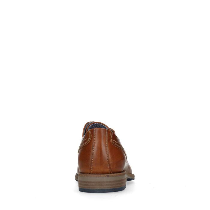 Cognacfarbene Schnürschuhe mit blauen Nähten