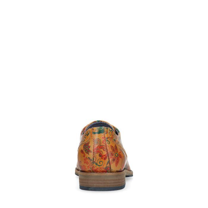 Cognacfarbene Schnürschuhe mit Blumenmuster