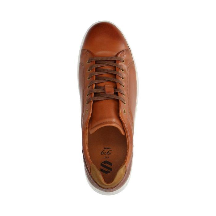 Cognacfarbene Sneaker mit kurzem Schaft