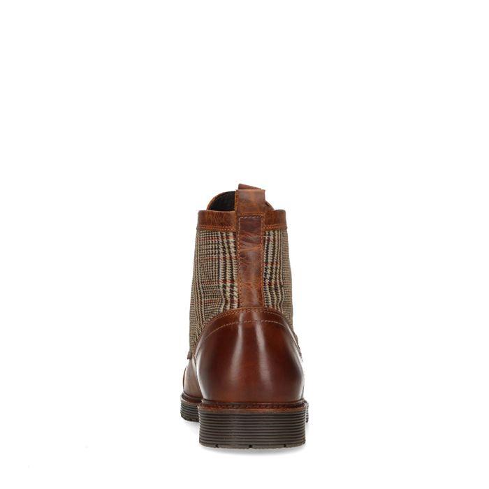 Cognacfarbene Schnürstiefel aus Leder mit Karos