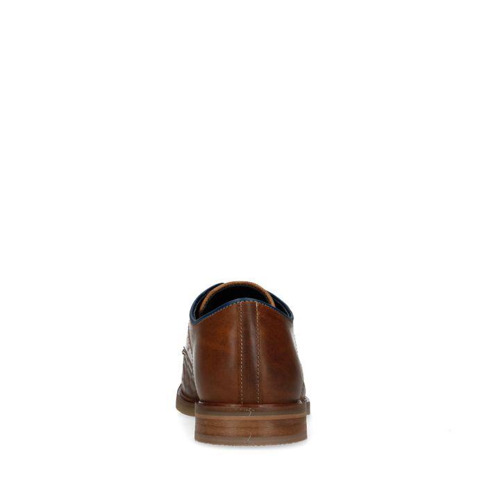 Cognacfarbene Schnürschuhe mit Karomuster