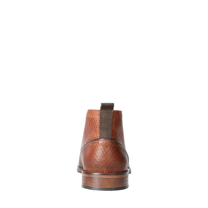 Cognacfarbene Leder-Schnürboots mit Muster