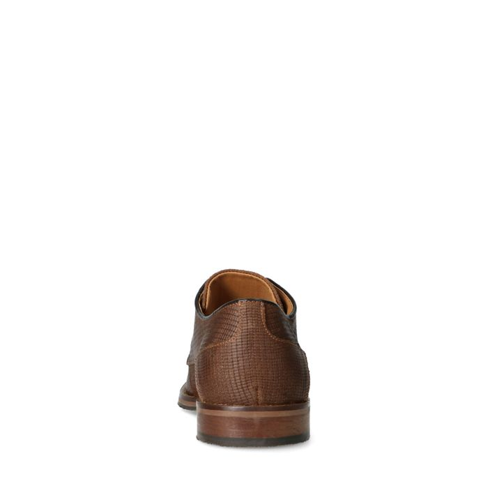 Cognacfarbene Leder-Schnürschuhe