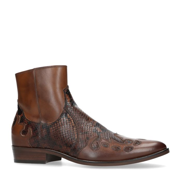 Cognacfarbene Western Boots mit Schlangenmuster